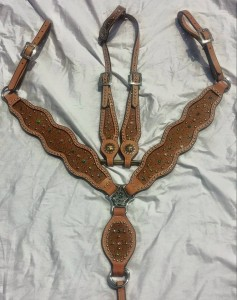 Brown Ostrich Inlay Tack Set