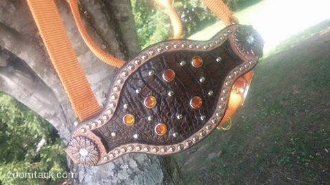 Brown Gator Inlay Bronc Noseband with Orange Halter