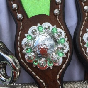 Lime Green Inlay Tack Set - Bridle - Breastcollar - Wither Strap